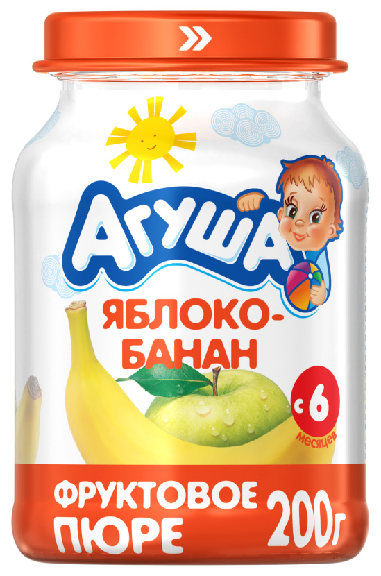 Купить Яблоко-банан 200 г, Пюре фруктовое Агуша Яблоко-банан с 6 мес 200 г, Детское пюре