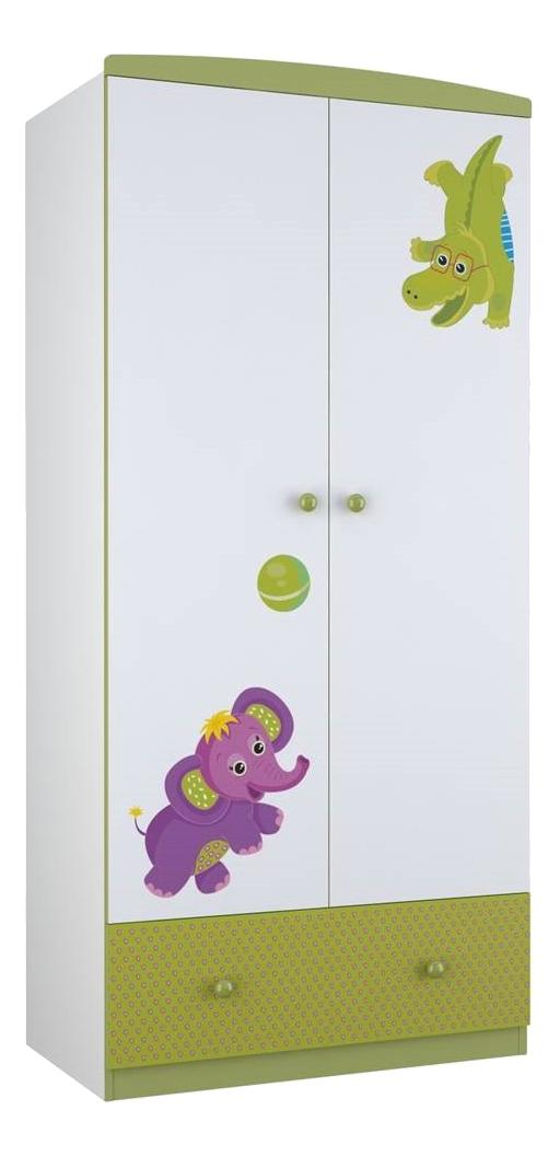 Купить Basic Elly двухсекционный белый-зеленый, Детский шкаф двухсекционный Polini Basic Elly белый-зеленый, Шкафы в детскую комнату