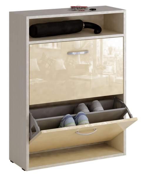 Обувница MFMaster Милан-25 МСТ-ОДМ-25 60х22,2х88,2 см, дуб молочный/бежевый глянец