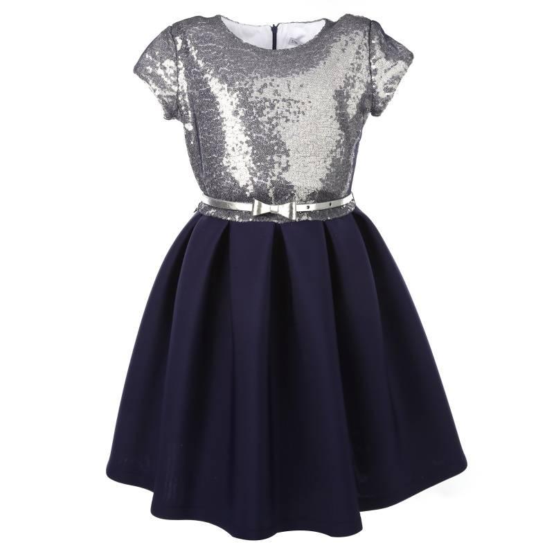 Купить Платье Неопреновая дымка UNONA D'ART, цв. темно-синий, 146 р-р, Детские платья и сарафаны