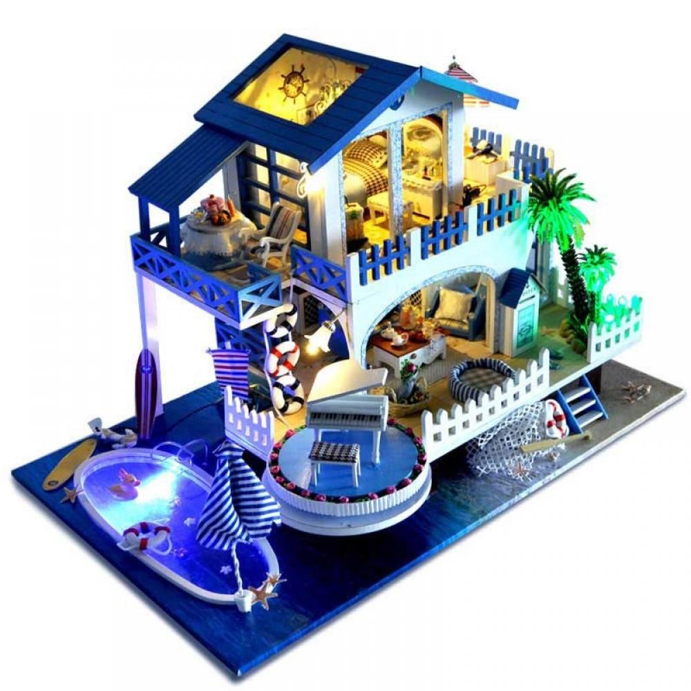 Купить Кукольный дом DIY RoomBoCom Blue color melody интерьерный домик DIYRB-TB8, Деревянные конструкторы