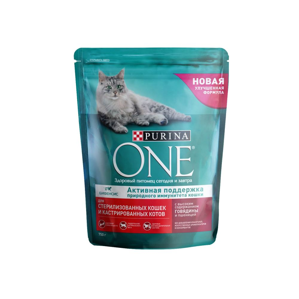 Сухой корм для кошек ONE, для стерилизованных, говядина и пшеница, 0,75кг