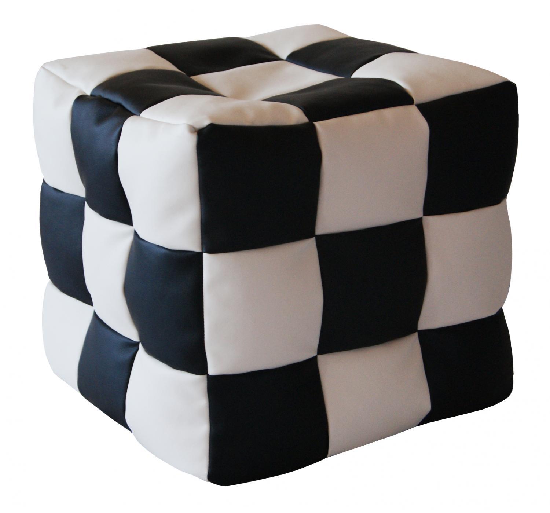 Кресло-мешок Папа Пуф Мини, размер XS, экокожа, черно-белый