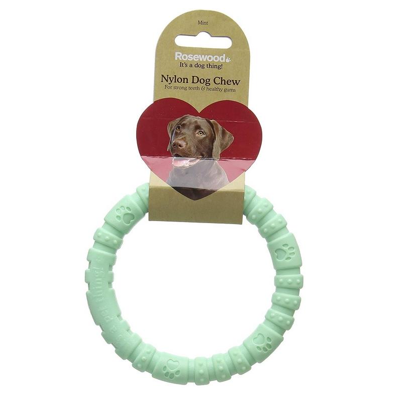 Жевательная игрушка для собак Rosewood Кольцо мятное, зеленое, 14 см
