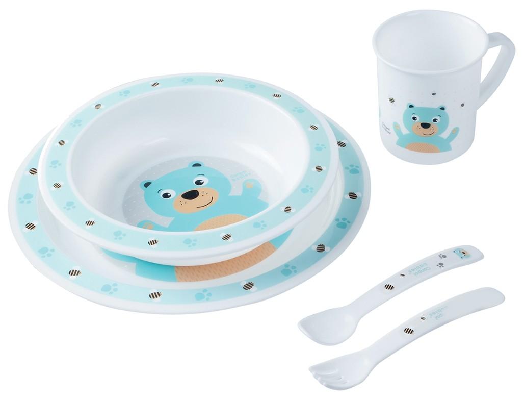 Купить Набор обеденный пластиковый Canpol арт. 4/401, 12+, цвет бирюзовый, Canpol babies, Наборы детской посуды