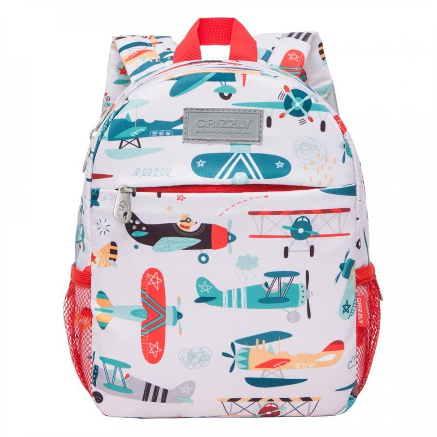 Рюкзак детский Grizzly для мальчика самолеты