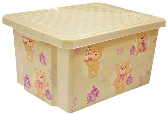 Купить Детский ящик Little Angel для хранения игрушек x box bears 17л слоновая кость/12*,