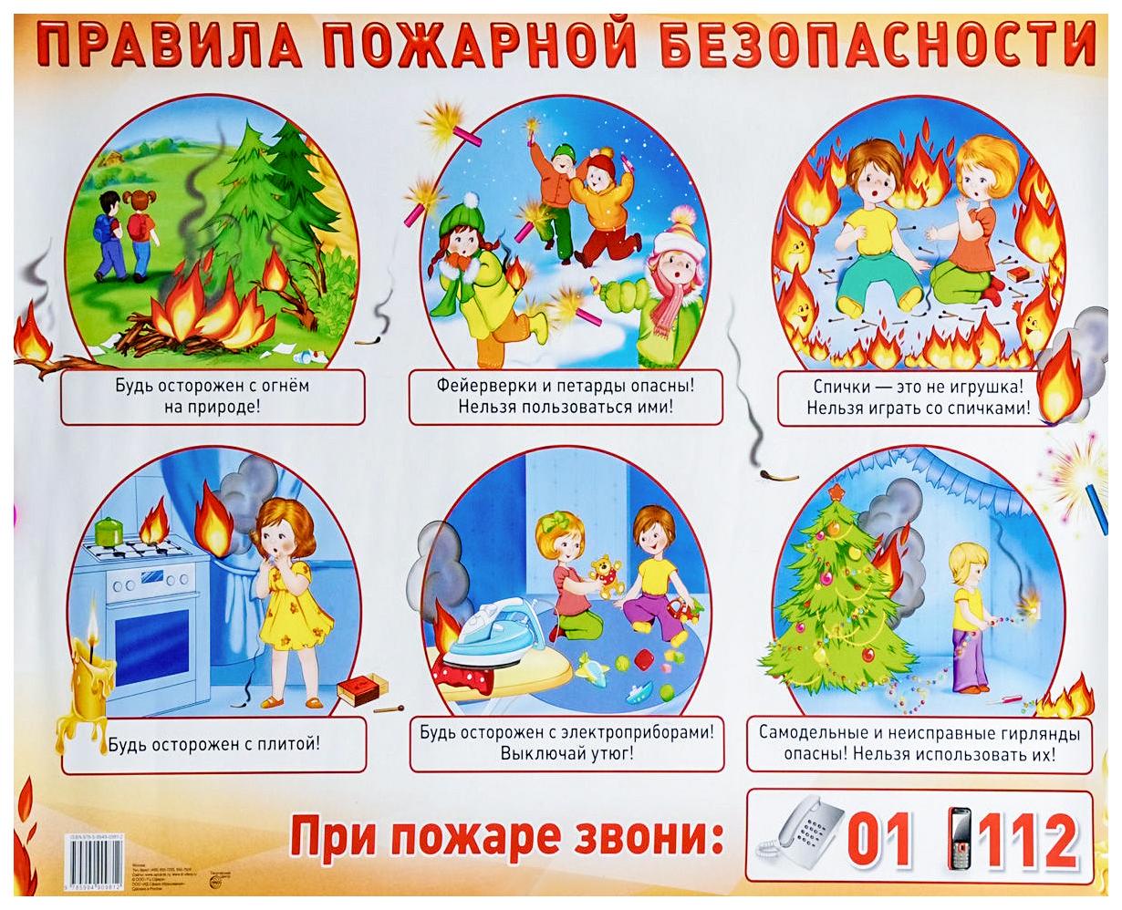 Купить Демонстрационный плакат правила пожарной Безопасности А2, Сфера, Подготовка к школе