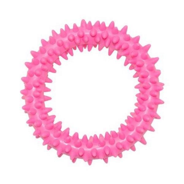 Жевательная игрушка для собак HOMEPET Кольцо с шипами, розовый, длина 9 см