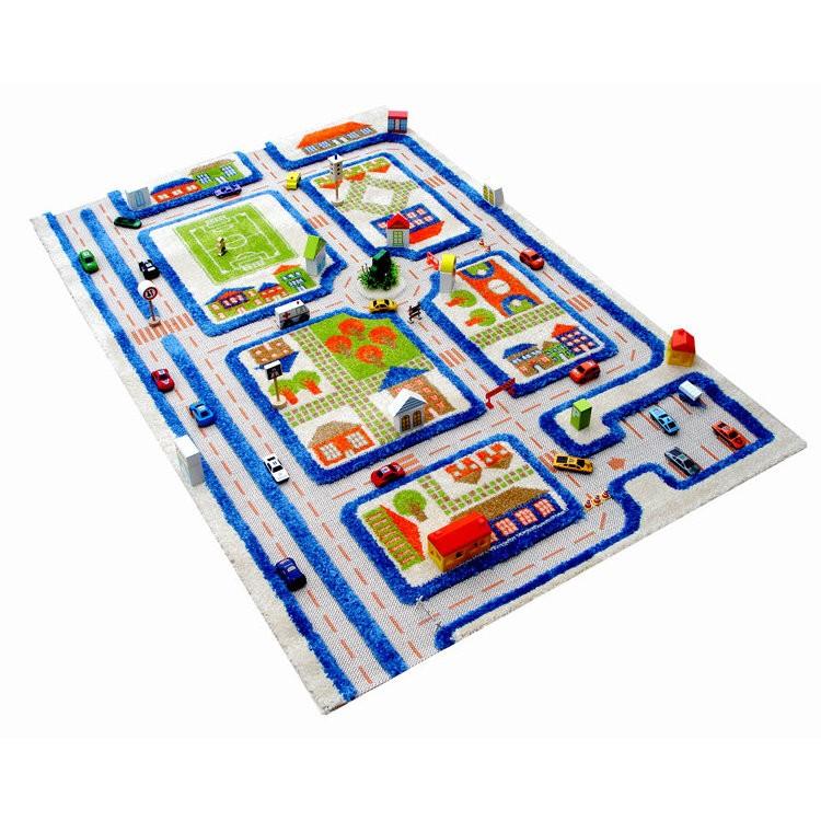 картинка Детский игровой 3D-ковер Трафик, синий, 134 х 180 см от магазина Bebikam.ru