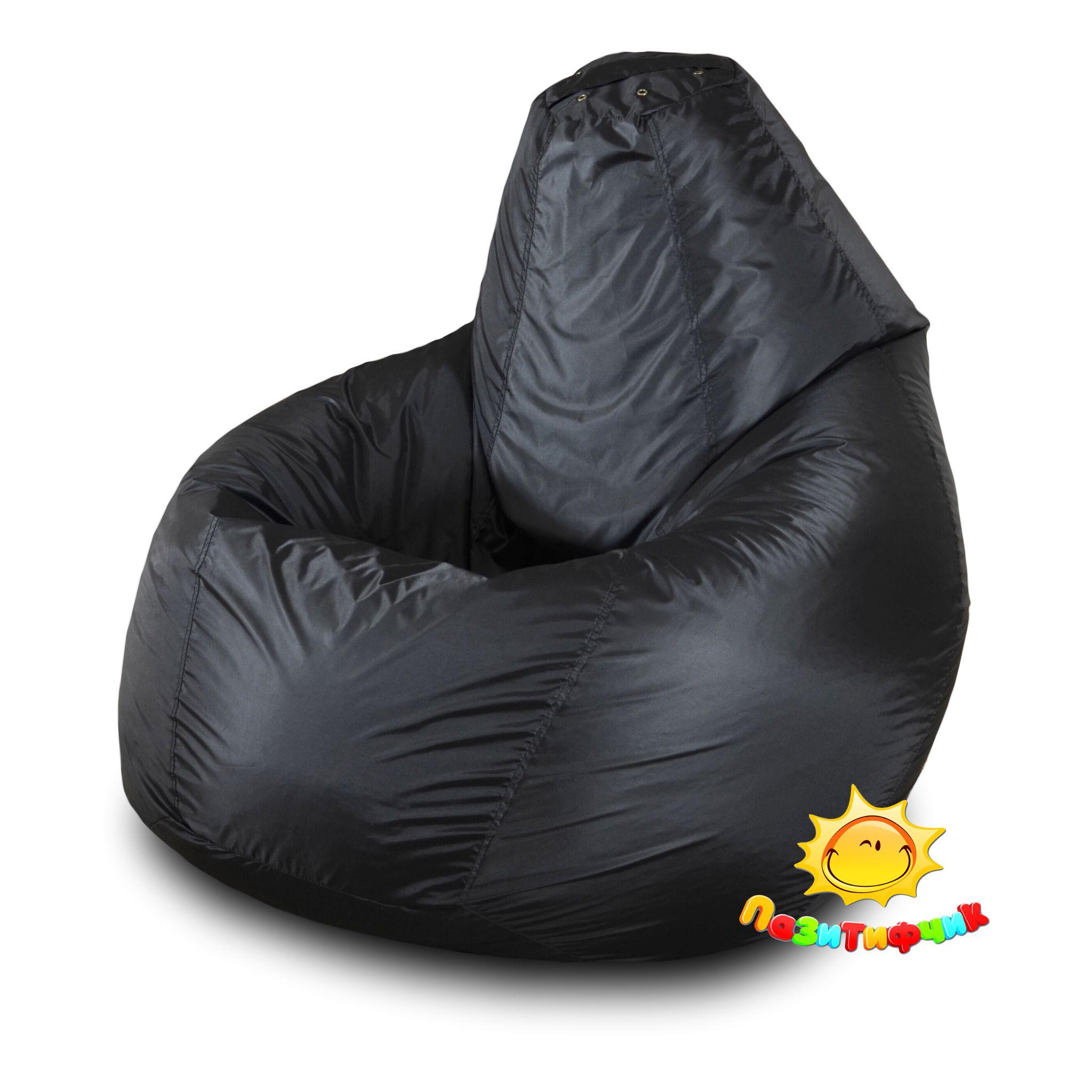Кресло-мешок Pazitif Груша Пазитифчик, размер L, оксфорд, черный