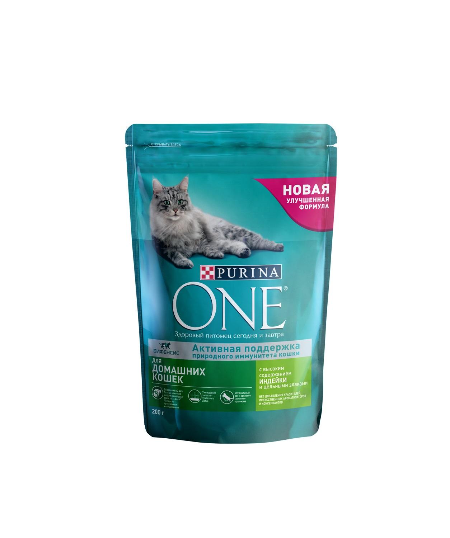 Сухой корм для кошек Purina One, для домашних, индейка, цельные злаки, 0,2кг