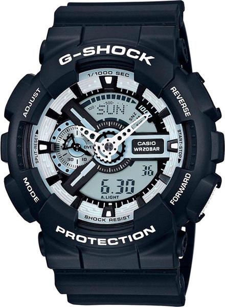 Японские наручные часы Casio G-Shock GA-110BW-1A с хронографом фото