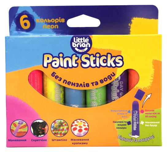 LITTLE BRIAN Краски в стиках, в наборе 6 неоновых цветов LBPS10DA6 фото