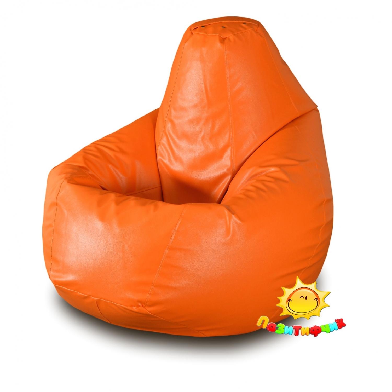 Кресло-мешок Pazitif Груша Пазитифчик Экокожа, размер M, экокожа, оранжевый
