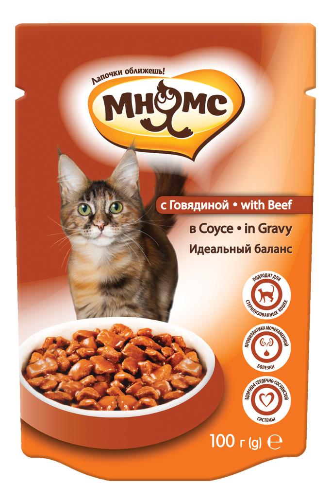Влажный корм для кошек Мнямс Идеальный баланс, говядина в соусе, 100г фото