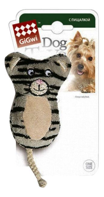 Мягкая игрушка для собак GiGwi Кот, серый, бежевый, длина 9 см