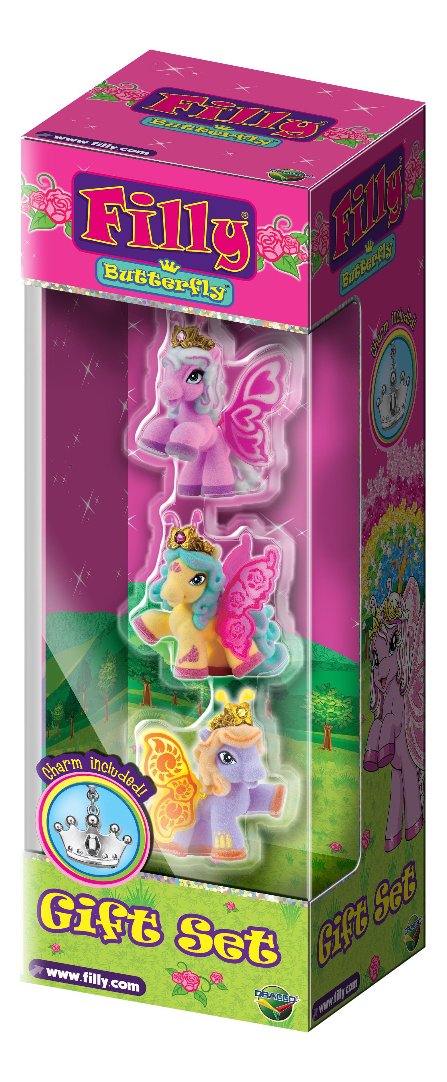 Игровой набор Filly Dracco Лошадки-бабочки с блестящими крыльями, 3 фигурки с аксессуарами