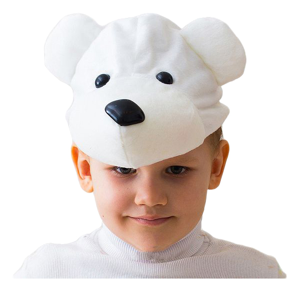 Карнавальная шапка Белый Мишка, 52 54