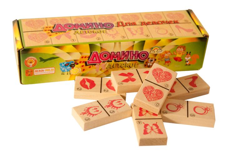 картинка Деревянная игрушка для малышей ПЕЛСИ Домино для девочек от магазина Bebikam.ru