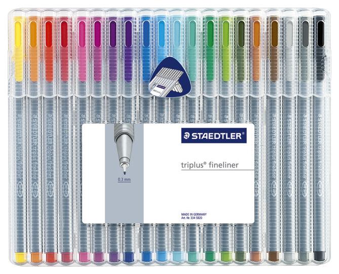 Ручка капиллярная Staedtler Triplus набор 20 цветов, пластиковый бокс