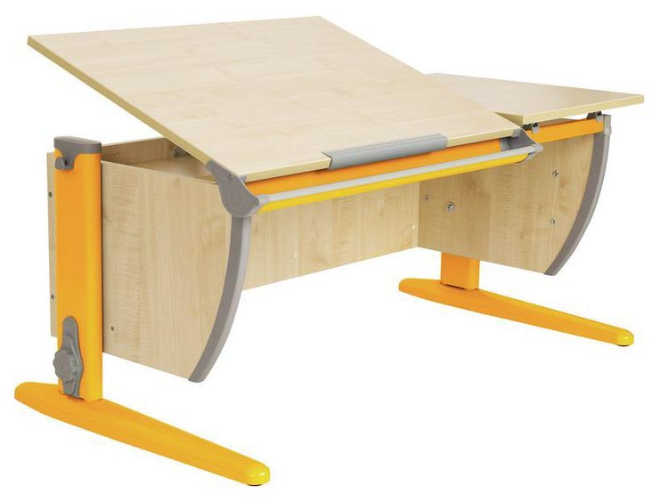 Парта Дэми СУТ 17-01Д2 с двумя задними двухъярусными приставками Клен Оранжевый 120 см