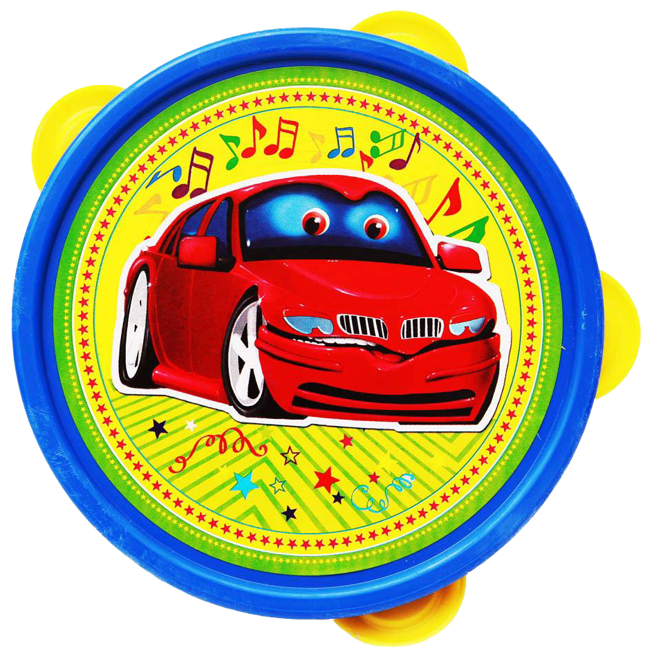 Купить Игрушка музыкальная бубен Машинка И-2897, Игрушка музыкальная, Бубен большой в пакете, Машина, Рыжий кот,