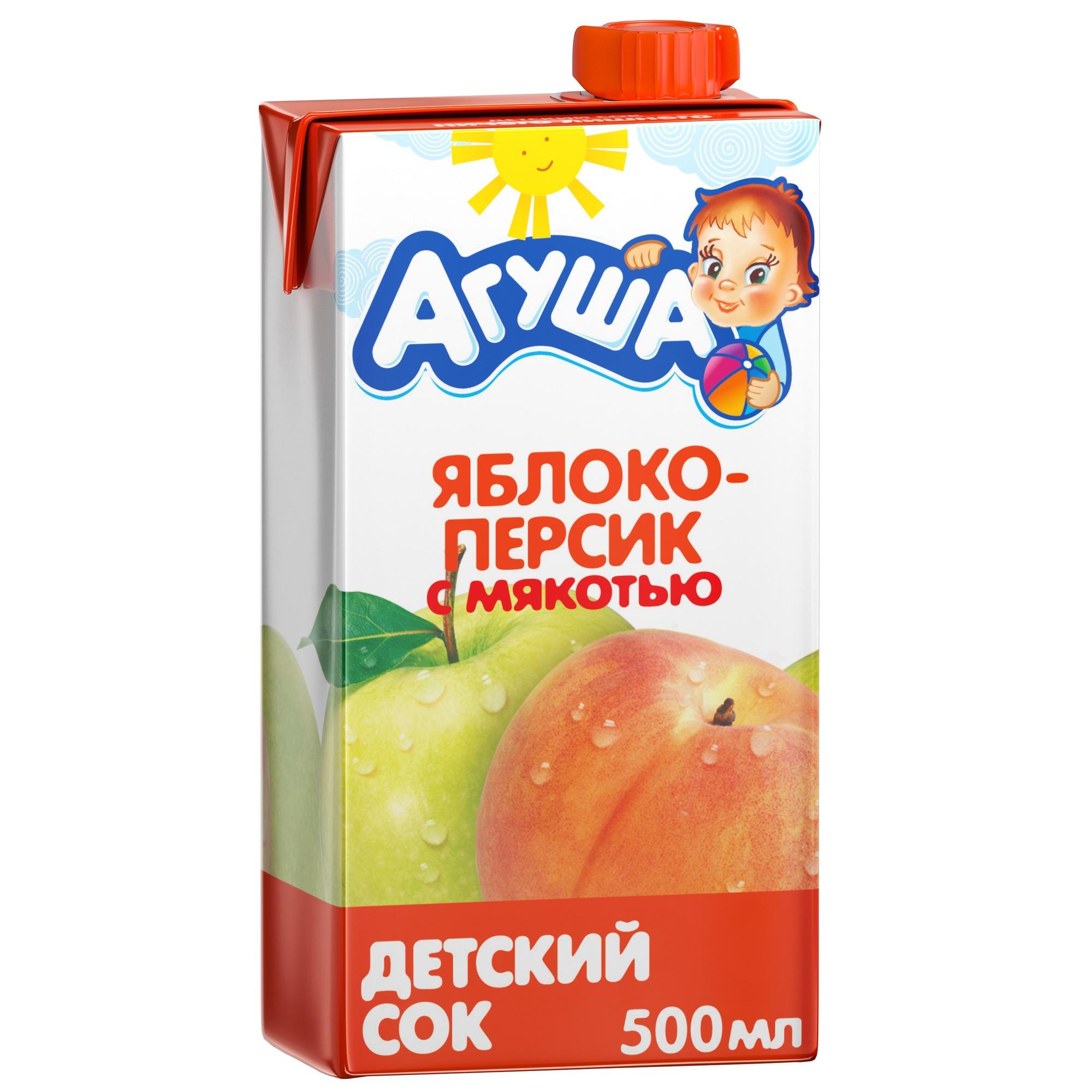 Сок Агуша Яблоко и персик с мякотью