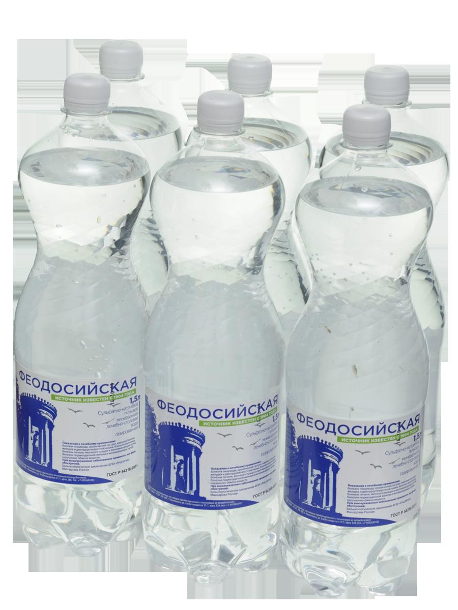 Вода минеральная природная лечебно-столовая Феодосийская пластик 1.5 л 6 штук фото