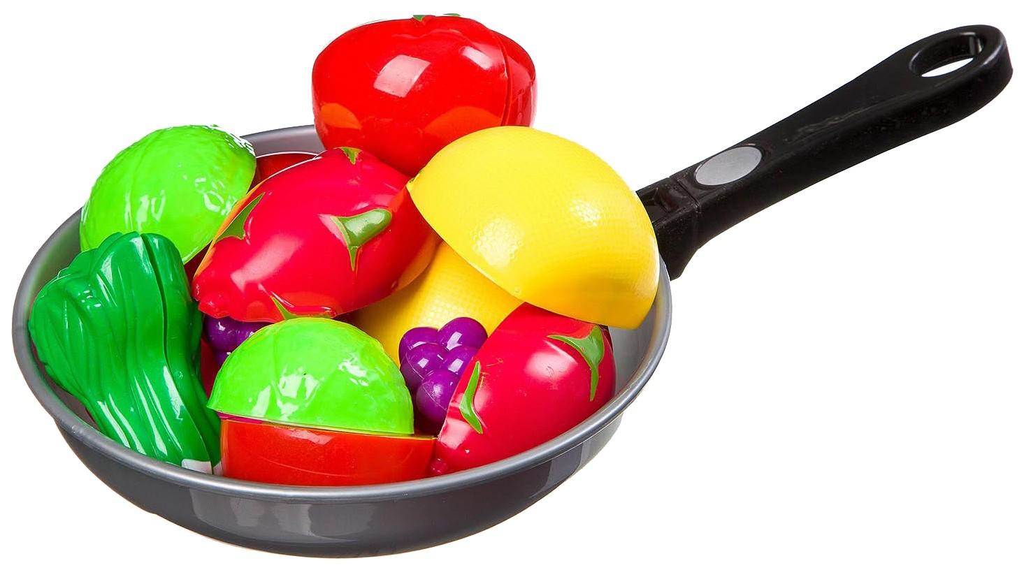 Купить Набор сковородка с овощами на липуч. в сетке 31х19 см, арт. 3013C., Shenzhen Toys, Игрушечные овощи