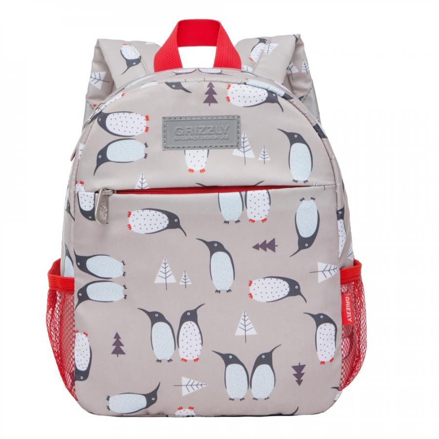 Рюкзак детский Grizzly для мальчика пингвины