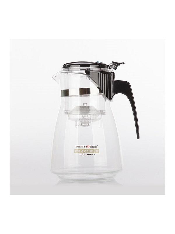 Стеклянный заварочный чайник Veitron с кнопкой, 1000