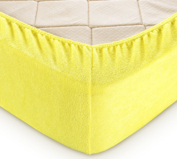 Простыня махровая на резинке (лимонная) 200х200х30 фото