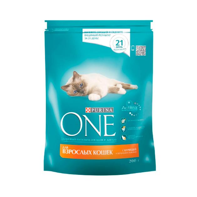 Сухой корм для кошек Purina One, курица, цельные злаки, 0,2кг