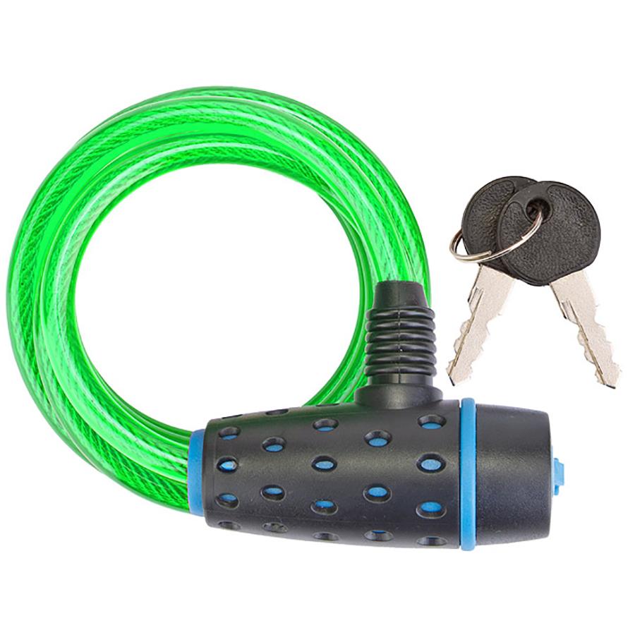 Трос-замок 87318 (1800 мм) d 8mm, Черный-синий-зеленый