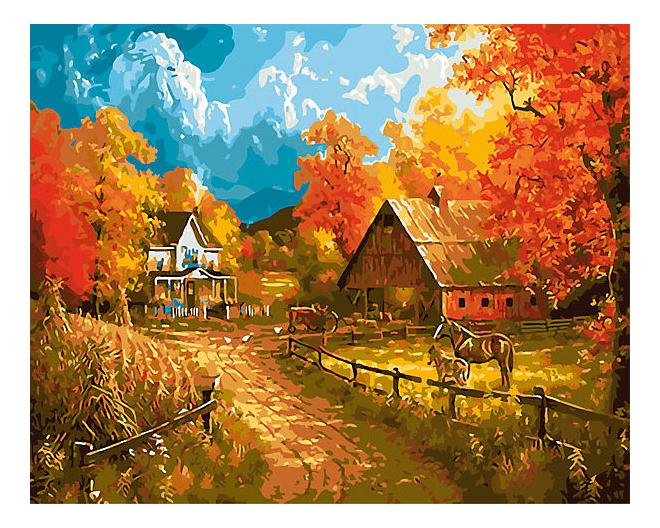 Раскраска по номерам Рыжий Кот Деревня осенью