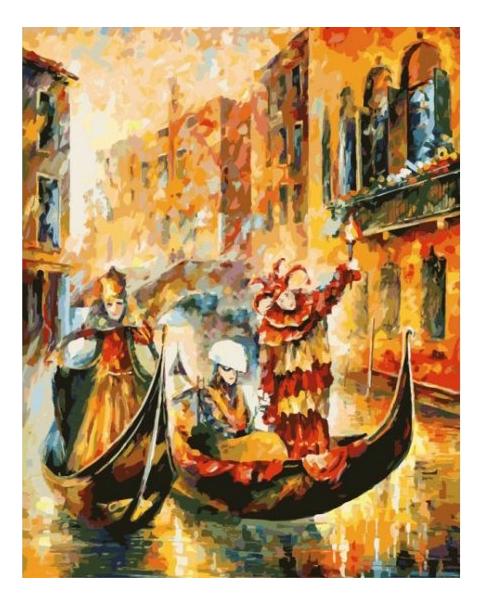 Раскраска по номерам Белоснежка Венецианская гондола