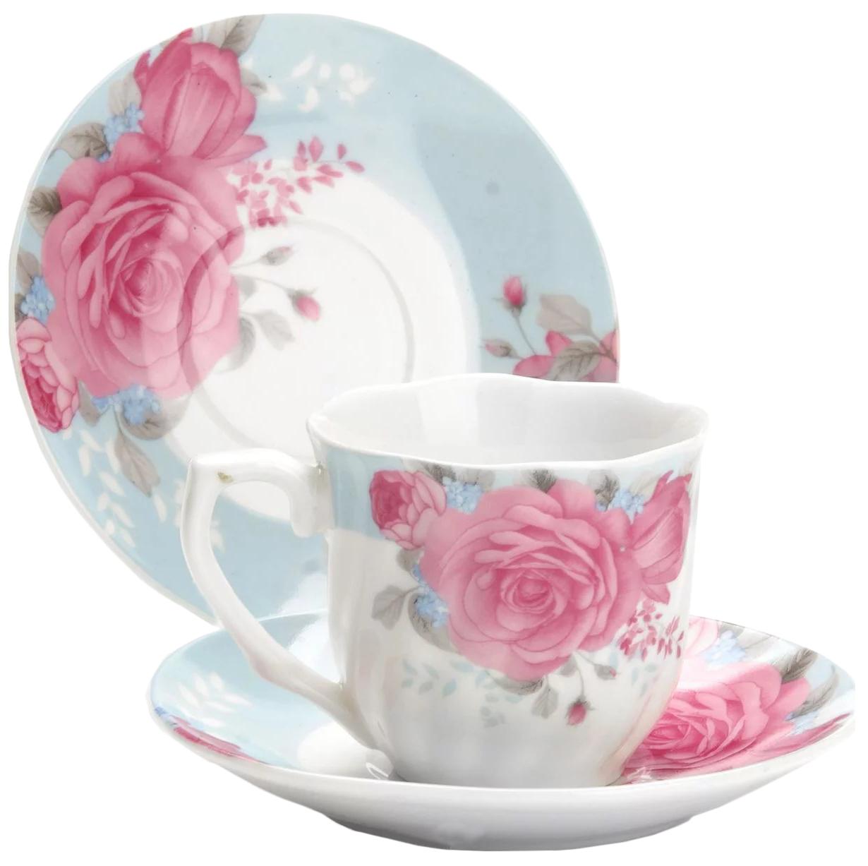 Кофейный набор Lorane 25958 Белый, розовый
