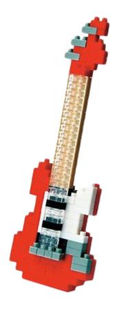 Купить Красная электрогитара, Конструктор пластиковый Nanoblock Электрогитара красная, Конструкторы пластмассовые