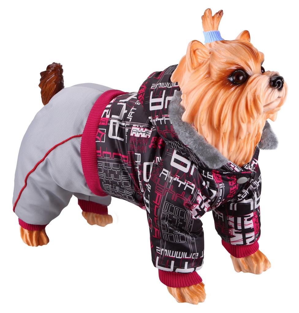 Комбинезон для собак DEZZIE размер XS мужской, серый, красный, длина спины 20 см