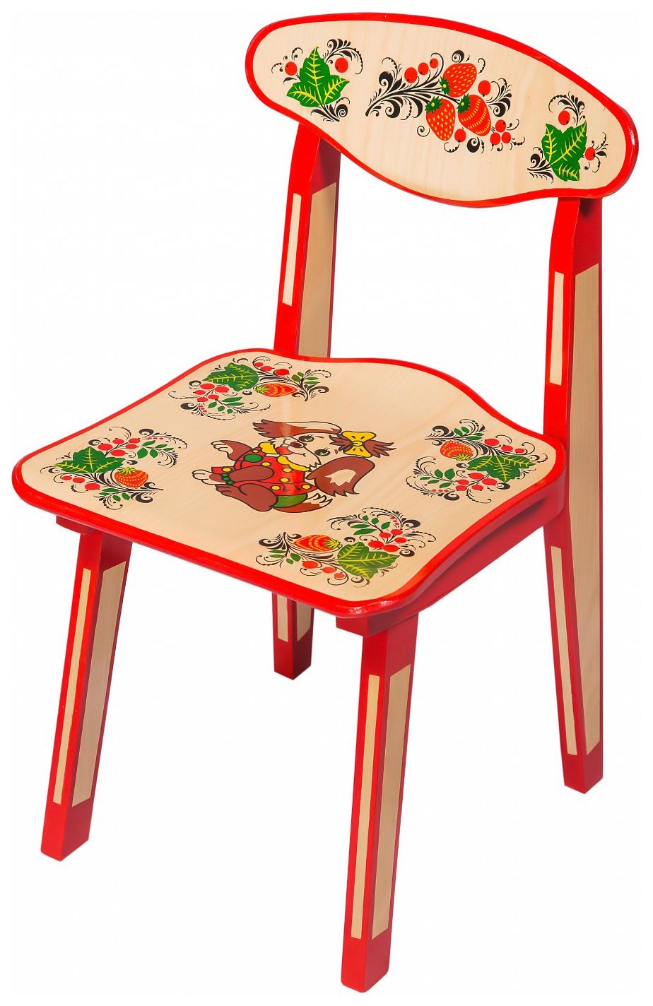 Купить Стул детский Хохлома Зверьки 50 см, Хохломская роспись, Детские стульчики