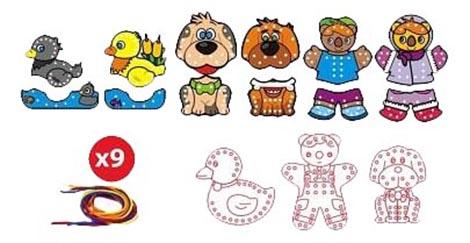 Купить Животные, Шнуровка Miniland животные, Шнуровки для детей