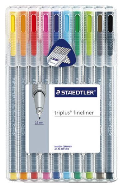 Ручка капиллярная Staedtler Triplus Liner 0,3мм, набор 10 цветов