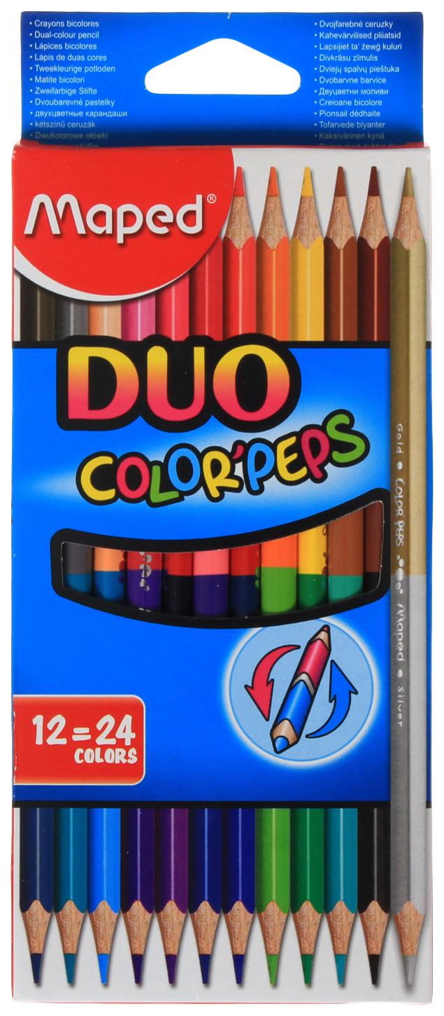 Купить Color Peps, Карандаши цвет.COLOR'PEPS DUO, двусторон.наб.12шт/24цв.MAPED, Цветные карандаши