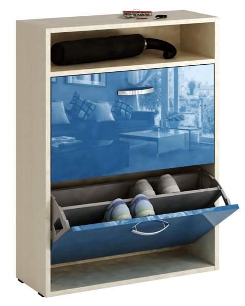 Обувница MFMaster Милан-25 МСТ-ОДМ-25 60х22,2х88,2 см, дуб молочный/синий глянец