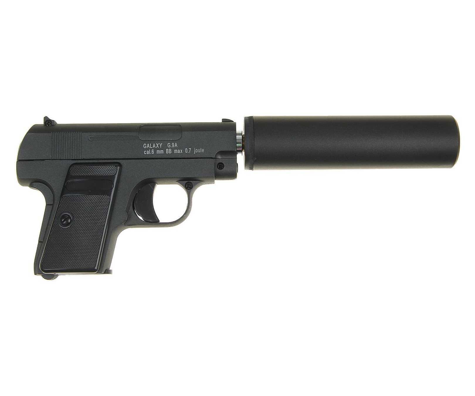Страйкбольный пружинный пистолет Galaxy (кал. 6 мм) G.9A (мини Colt 25 с глушителем) фото