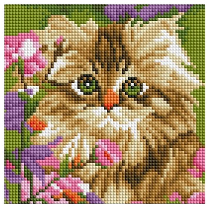 Купить РЫЖИЙ КОТ Алмазная мозаика Котенок в цветах, 20х20 см AC20019/PK, Рыжий кот, Мозаики