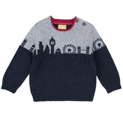 Купить 9069385, Джемпер Chicco для мальчиков р.86 цв.темно-синий, Кофточки, футболки для новорожденных