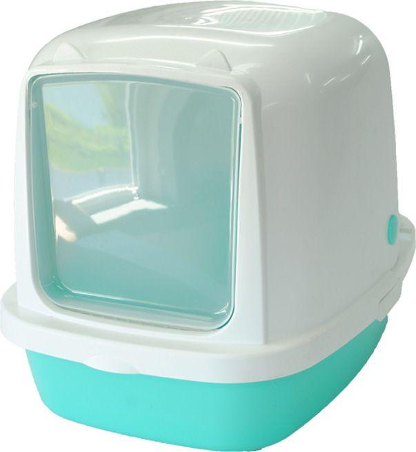 Туалет для кошек HOMECAT, прямоугольный, белый, голубой,