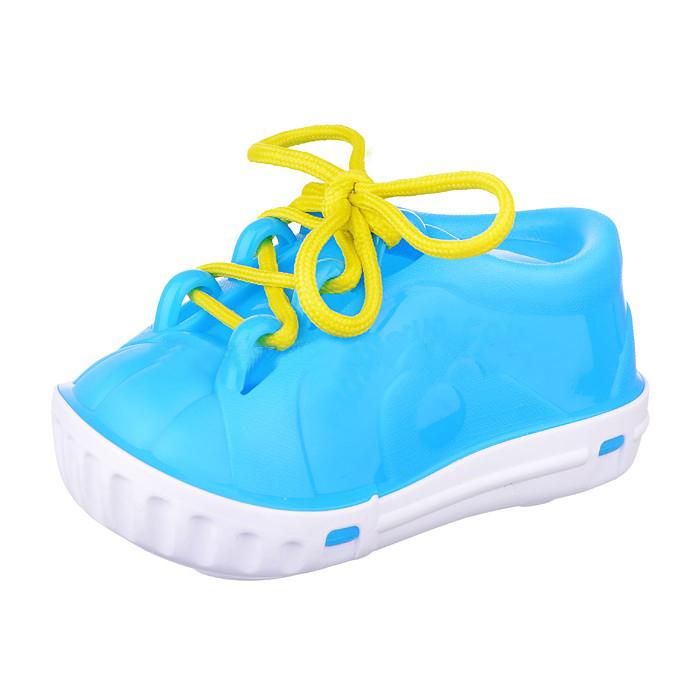 Купить Ботинок-шнуровка, Дидактическая игрушка ботинок-шнуровка в сетке в ассортименте, НОРДПЛАСТ, Шнуровки для детей